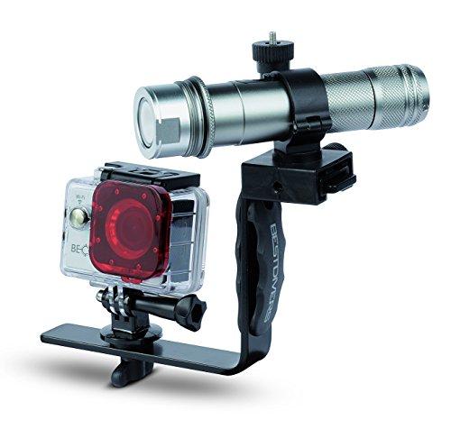 Best Divers ac4000kit Kit Becam Action Camera, 4 K, 170 °, 12 MP, WLAN, 50 m, 1050 lumen, videolamp houder aluminium