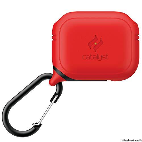 Catalyst Unterwassergehäuse für AirPods Pro Skin, für Apple AirPods Pro Aufladetasche, stoßfest, Schutzhülle, weiche Haut, Karabiner, Silikon, kompatibles kabelloses Aufladen - Rot