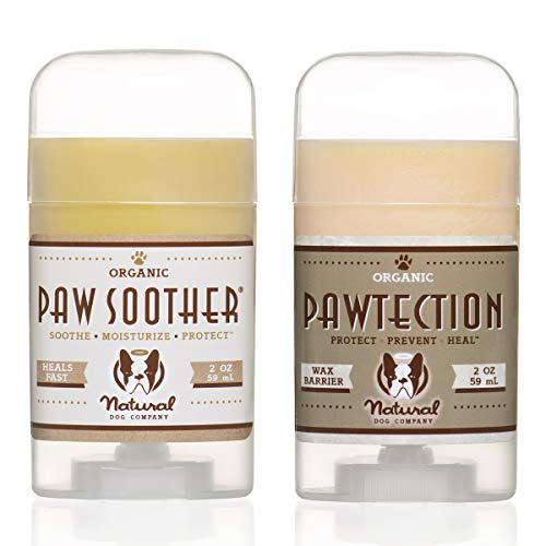 Natural Dog Company PAWDICURE Bundle, Paw Soother + PawTection Dog Paw Balms, Protect and Heal Dry, Cracked Dog Paw Pads, Organic, All Natural Ingredients, 2oz Sticks