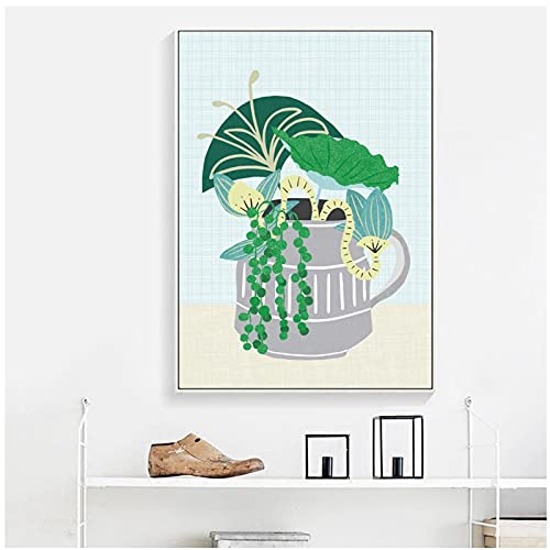 djnukd Hojas verdes flor maceta planta vivero pared arte lienzo pintura carteles e impresiones fotos de pared bebé niños decoración habitación 50x70x1 sin marco