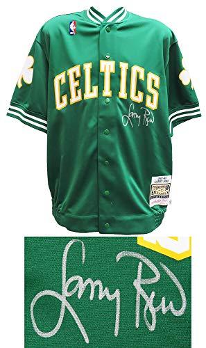 Larry Bird Signed Celtics Green Mitchell & Ness NBA Warm Up Jacket - Larry Bird Authentic