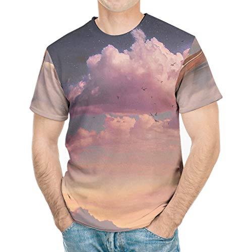 Comfort heren grafisch T-shirt fantasie boot bewolkt maan vogel grafische print abstract Activewear