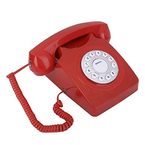 Estink Teléfono Antiguo, botón Claro Grande de la Llamada de Alta definición del teléfono Multifuncional casero Europeo de Vintag(Big Red)