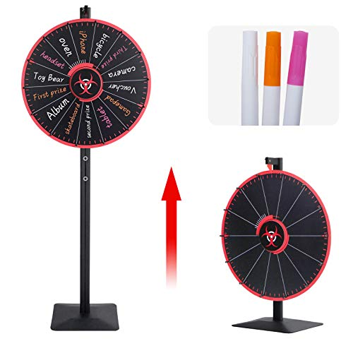 T-SIGN 24 Inch Spinning Prize Wheel Spinner Stand, Tabletop or Floor Spinner Stand, 14 Colorful Slots with 3 Dry Erase Markers and 1 Eraser Win The Fortune Spin Game for Carnival and Trade Show