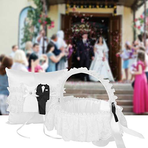 Almohada para portador de anillo, juego de almohada para anillo, cesta de flores para niña, cojín para portador de cinta de encaje, blanco para tienda, boda,(Flower basket + ring pillow)