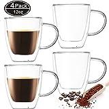 Farielyn-X 4 Pack Insulated Coffee Mugs, Glass Tea Mugs (12 oz, 350 ml), Double Wall Glass Coffee Cups, Latte Cups, Beer Cups, Glass Coffee Mug, Tea Glasses, Latte Mug, Clear Mugs, Glass Cappuccino Cu