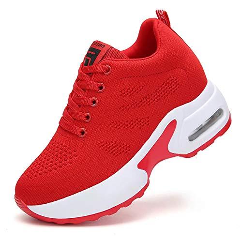 GURGER Sneakers Zeppa Donna Scarpe da Ginnastica Casual Basse Sportive Fitness Scarpe con Zeppa 8CM Interna Rosso 35 EU