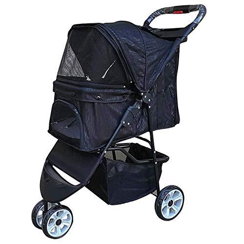 Pet Stroller, 3-Wheel Cat kinderwagen, Foldable Hond wandelwagen met verwisselbare Liner en Storage Basket, for kleine en middelgrote huisdier, maximum lading 15kg