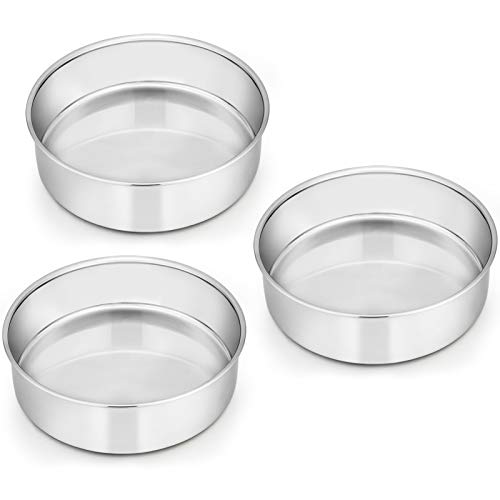 Cake Tin, Homikit 6 Inch Round Cake Tin Mould Set of 3, Layer Cake Tins Stainless Steel Cake Baking Pans for Christmas Birthday Wedding, Healthy & Durable, Mirror Finished & Dishwasher Safe