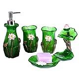 Dispensador de jabón de cocina Artículos de tocador de resina de cinco piezas de resina Set de baño Accesorios de baño Set, dispensador de jabón, cepillo de dientes titular, Vaso, Soap Box Dispensador