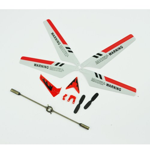 'Syma S107 Full Replacement Parts Set for Syma S107 RC Helicopter Main Blades, Tail Decorations, Tail Props, Balance Bar RED Set'.