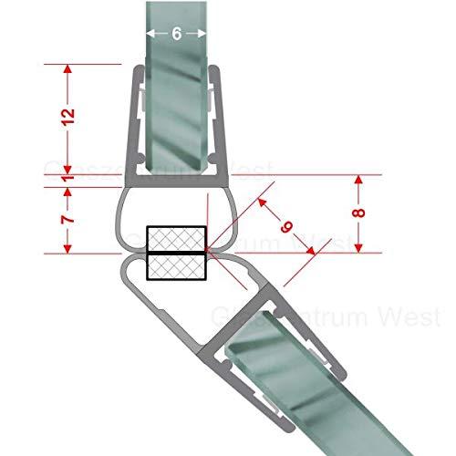 Magnetdichtungen 135° Magnetprofil Steckprofil Duschdichtung Glasdusche 1 Set für Glasstärke 4-6 mm