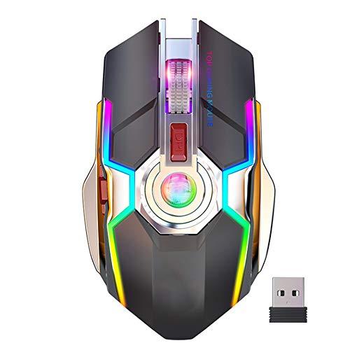 SHR-GCHAO Gaming Mouse, Nachladbare Drahtlose Spiel-Maus, 7 Tasten, 2,4 Ghz 3 DPI Einstellbar USB Gaming Mäuse, USB-Anschluss Aufladen, Für PC Gamer