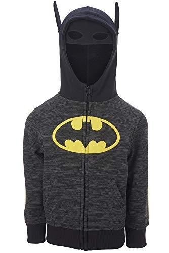 BATMAN Zip Up Hoodie Sweatshirt Face Mask with Built in Superhero Kids...