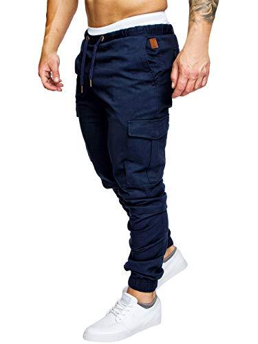 Pantalones de Hombre Casuales Chino Deporte Joggers Pants Algodón Slim Fit Jeans Cargo Trouser (3X-Large, Azul Marino)