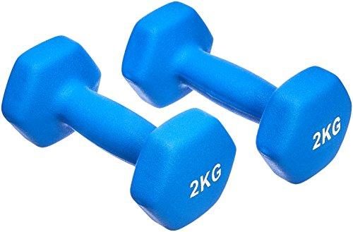 AmazonBasics - Par de mancuernas de neopreno, 2 x 2 kg, Azul