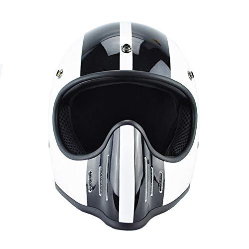 Motorradhelm Full Face Casque Vintage Vollverdeckte Fahrer Casco Motorhelme-Weiß Schwarz, L