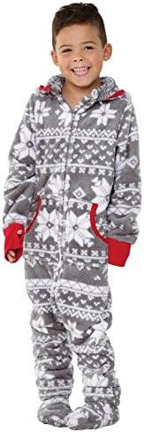 PajamaGram Big Boys Footed Pajamas Fleece Onesie Pajamas for Boys Gray 6 product image