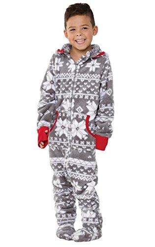 PajamaGram Big Boys Footed Pajamas - Fleece Onesie Pajamas for Boys, Gray, 6