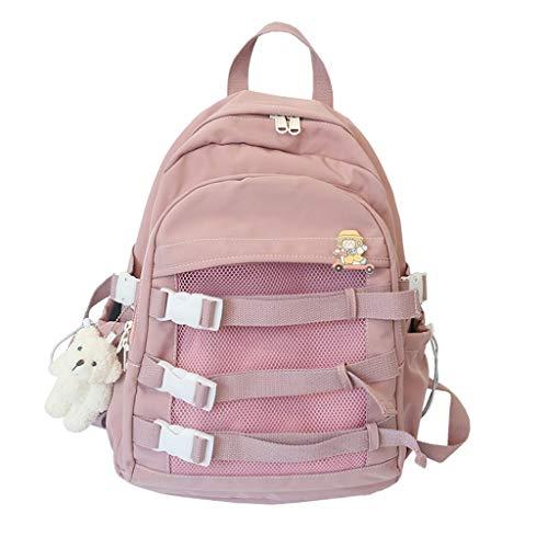 LZL Mochilas Bolsos de la Escuela de Tendencia -Tres Capas Casual Daypacks Estudiantes Juveniles Versión Coreana Mochilas de cuadrícula, Viajes, Escuela Mochila (Color : Pink)