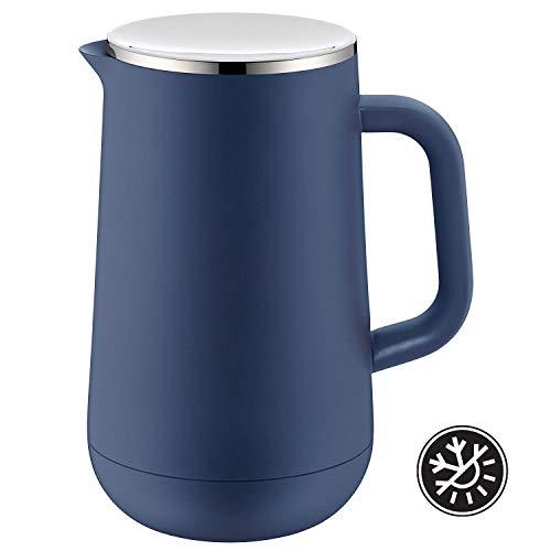 WMF Impulse Thermoskanne 1l, Isolierkanne für Tee oder Kaffee, Drehverschluss, hält Getränke 24h kalt & warm, blau