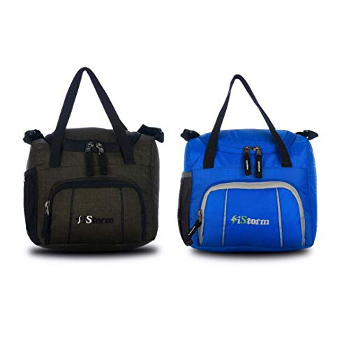 iStorm Polyester Lunch Bag/Tiffin Bag for Lunch Box (Khaki & Dark Blue, Pack of 2)