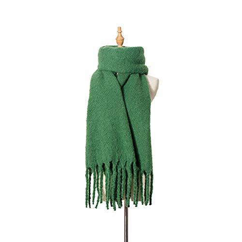 RRQS herfst en winter dikke kwast cirkel zand effen kleur sjaal sjaal dames dikke sjaal sjaal reizen vrije tijd dual-gebruik warm
