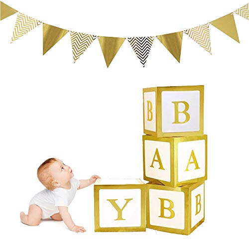 Baby Shower Box Decorations, 4Pcs Large Gold Baby Letter Boxes Baby Shower Blocks with 12Pcs Golden Triangle Flags Banner for...