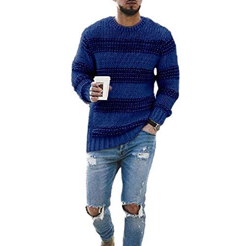 Jersey de Cuello Redondo a Juego de Color para Hombre, suéter de Punto Informal de Manga Larga Relajado a la Moda S