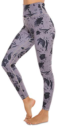 VOEONS Printed Yoga Pants for Women Pattern Exercise Leggings with Pockets High Waisted Tummy Control Athletic Spandex Compression Leggings for Women