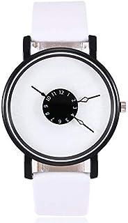 JZDH Orologi da Donna Design Creativo Orologi da Donna Casual in Pelle al Quarzo Cinturino analogico Orologio da Polso Abi...