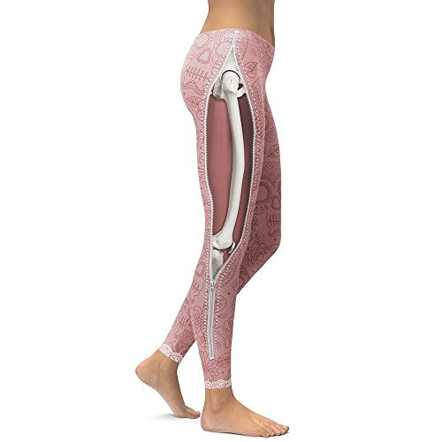 MAYUAN520 Leggings Frauen Cool Muskel Beine Leggings mit Reißverschluss 3-D-Drucken Leggins Hosen mit hoher Taille Elastizität Legins, L