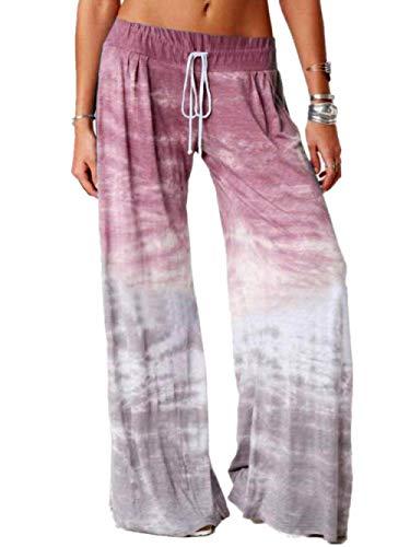 MLLM Pantalones de yoga ultra suaves y cómodos, pantalones de yoga con gradiente sueltos, pantalones deportivos de pierna ancha impresos-rojo wine_M, pantalones deportivos para mujer