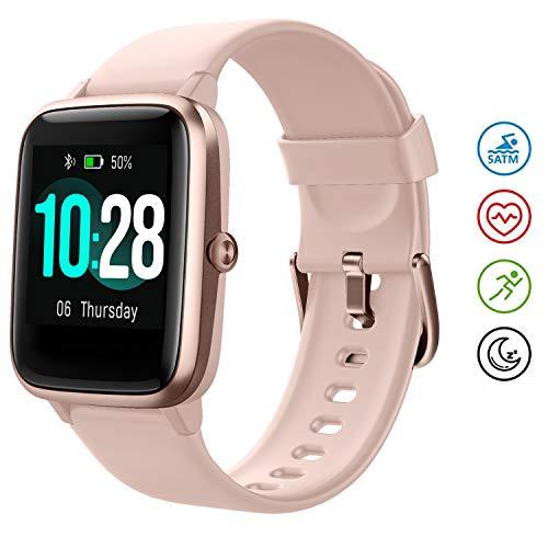 HAFURY Gesundheits Smartwatch, Armbanduhr mit Pulsuhr Fitness Tracker, Sportuhr mit Schrittzähler-Schlafmonitor-Stoppuhr für Damen Herren und Kinder(Rosa-Gold)