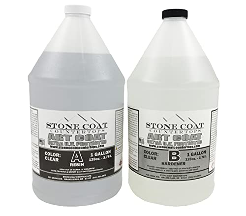 Art Coat 2 Gallon Epoxy Kit (Stone Coat Countertops) – Colorable DIY Art Resin Epoxy with Added UV Inhibitors and Heat Resistance for Coating Surfaces with Unique Designs!