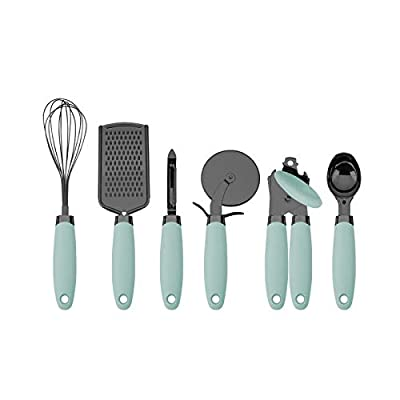 Country Kitchen 6 Pc Essentials Kitchen Stainless Steel Gadget Set Black Gun Metal with Soft Touch Mint Green Handles for Cooking by Enchante Direct