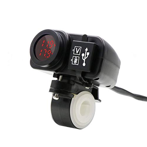 YGL Impermeabile Motociclo Caricatore Doppio USB 5V 3.1A Visualizzazione della Temperatura Voltmetro per Moto