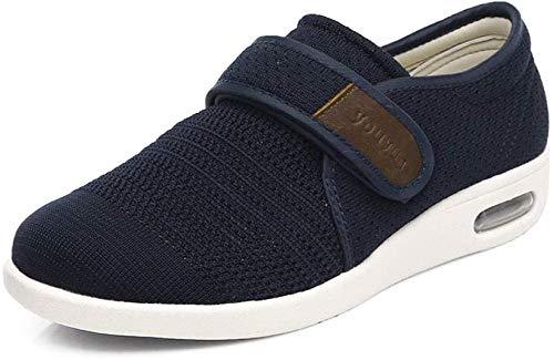 RSVT Zapatos ortopédicos Ajustables,Zapatos hinchables Transpirables, Zapatos cómodos y cómodos de Hombre.-Azul_44