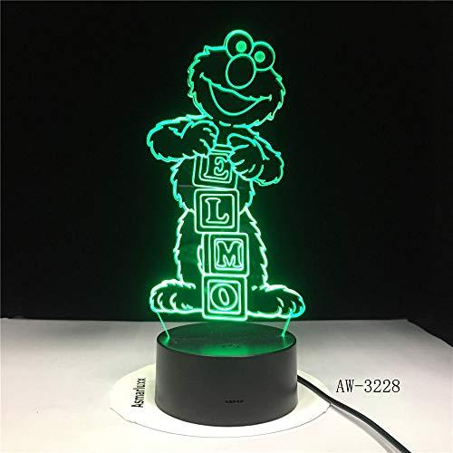 Elmo BIG BIRD GROUCH n USB Flexible 3D LED Nachtlicht Tischlampe Nachttisch Dekoration Kinder Geschenk