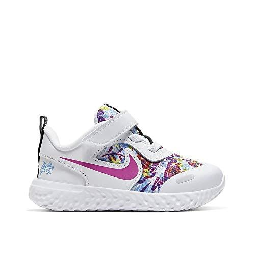 Nike Kids Revolution 5 - Zapatillas de correr con velcro para niños, blanco (Blanco/Blanco-Fuego Rosa-Azul Furia), 25 EU