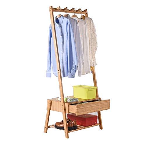 47-B Percha piso de madera maciza Perchero creativo salón cajón moderno minimalista dormitorio bambú rack