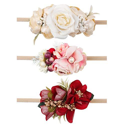 Oaoleer Baby Girl Floral Headbands, Newborn Infant Toddler Hair Accessories (3 Pcs Flowers Head bands)
