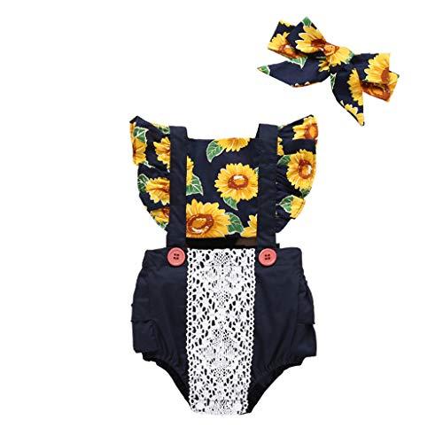 Voberry- (6-24M) Costume bébé,Combinaison sans Manches Fleur de Soleil pour Fille + Bandeau