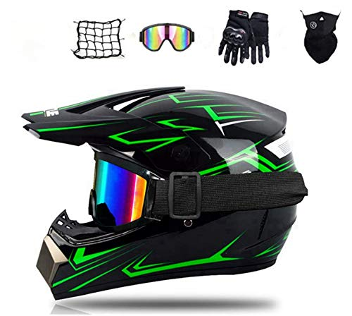 Casque Moto Enfant,Casque de Cross pour EnfantCasque Downhill pour Enfants, avec Goggle/Gants/Masque/Filet à Elastique,D. O. T Standard,pour BMX MTB Quad Enduro ATV Scooter (S)
