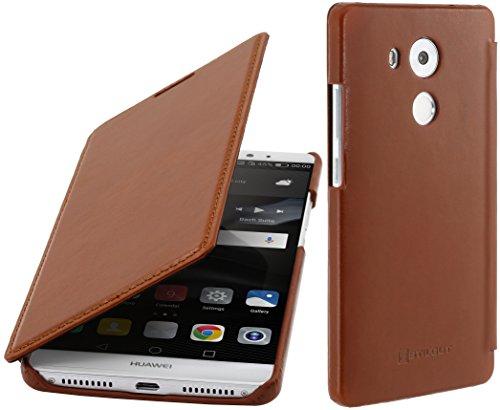 StilGut Book Type Case, Funda sin Cierre Clip de Piel auténtica y función Smart-Cover para el Huawei Mate 8, Cognac