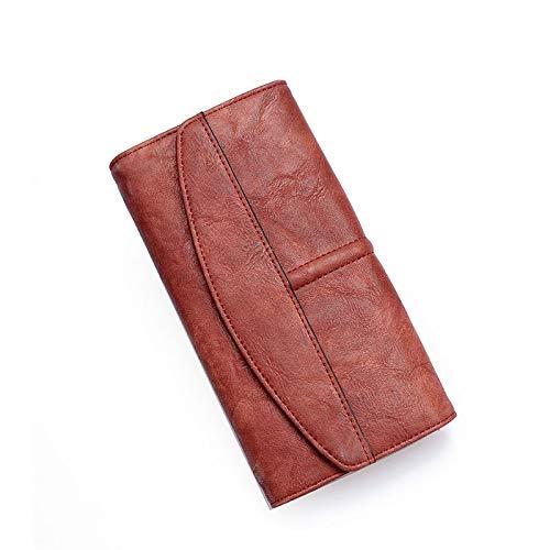 dingtian Señoras monedero vintage triple cartera mujeres largo cartera embrague monedero cerrojo mujer teléfono bolso chica tarjeta bolsos señoras Winered