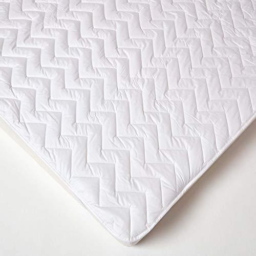 Homescapes gesteppter Matratzen-Topper 120 x 190 cm mit Bezug aus 100% Baumwolle, waschbare Matratzenauflage