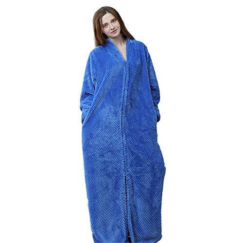 Dpliu Bathrobe Ladies Plush Robe, Super Soft Plus Size Shawl Tie Pocket Zipper Home Wear Pajamas, Warm Long Cardigan Bathrobe,Blue,M