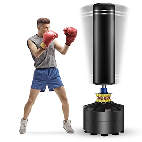 Twomaples Freestanding Punching Bag, 69'' Heavy Bag with Suction Cup Base 182 lb Stand Kickboxing Bags for Adult Youth - Heavy Punching Bag with Stand Kick Punch Bag (Black)