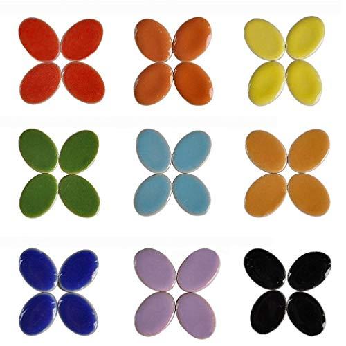 60pcs Gürtel Mosaik Herstellung Von Schmuck Ohrring 60pcs Mosaik-fliese Porzellan Micro Keramik Handbuch Diy Mosaik-dekor-oval Ultradünnes Keramik (zufällige Farbe)